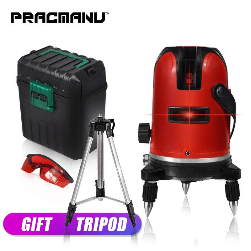 PRACMANU 5 lignes 6 points laser niveau livraison gratuite trépied nivellement automatique 360 rotation d'inclinaison verticale et horizontale