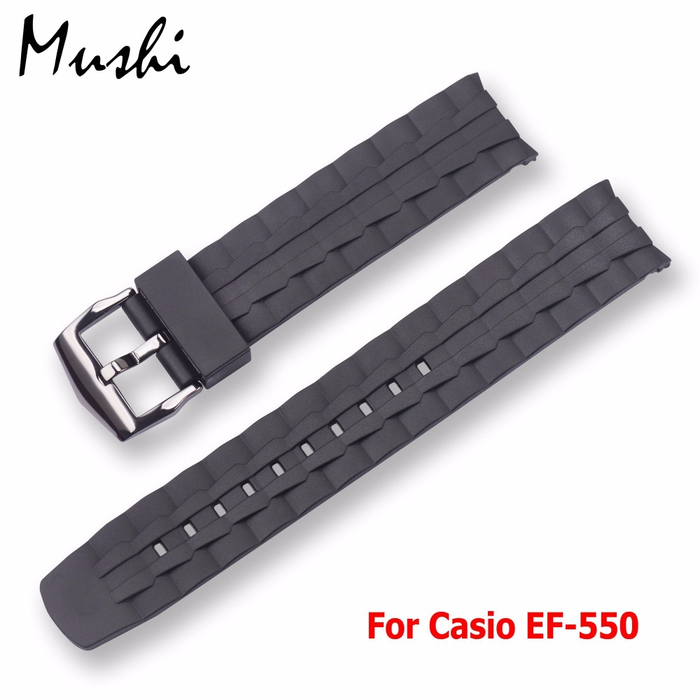MS Silicone Watch Band Black Stainless Steel Buckle Watchband Rubber Strap For casio EF-550 EF550 22mm Rubber Strap Free tools