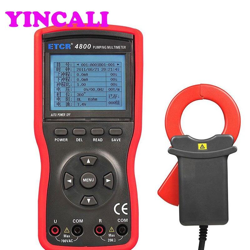 Compteur multifonction de pompage Oli ETCR4800 compteur de pompage 0 V ~ 700 V, 0,0ma ~ 300A testeur de patrouille d'unité de pompage