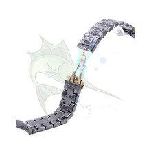 Bracelet de montre en céramique haut de gamme, couleur noire, Bracelet avec boucle papillon pour AR1410 AR1400,22mm