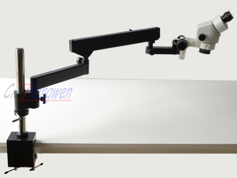 FYSCOPE 7X 45X Binocular Articulating Arm Pillar Clamp Zoom Microscope long working distance Microscope WF10X 20