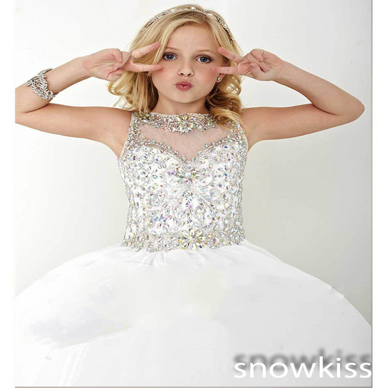 New White/ivory luxury beading crystals long ball gowns beautiful lace up back kids pageant interview suits for special occasion
