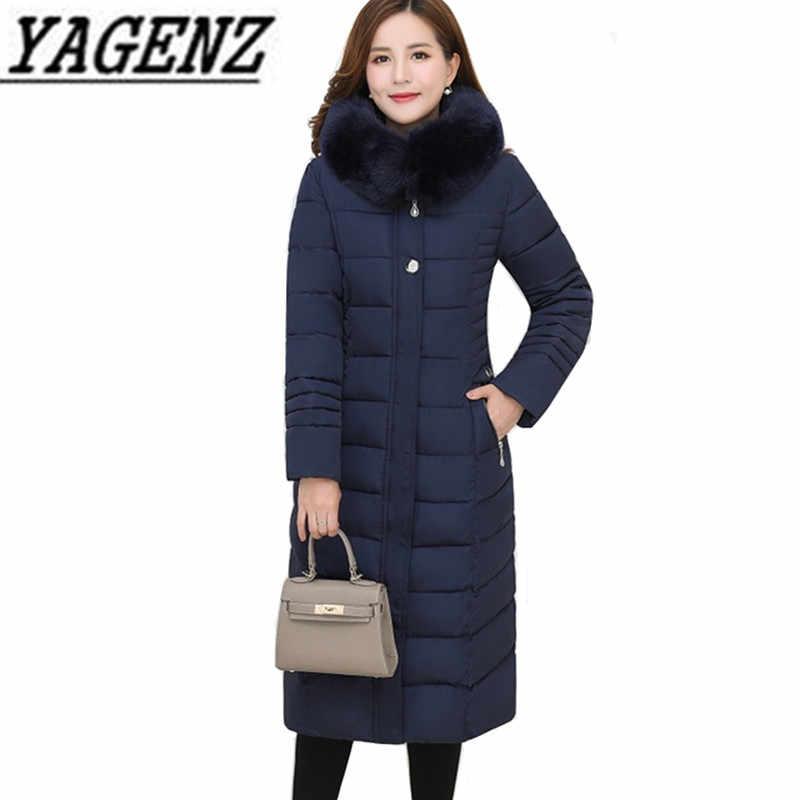 Куртка для женщин среднего возраста с капюшоном, теплое пальто, свободные парки с меховым воротником, хлопковое длинное пальто, большие размеры, повседневные женские куртки 6XL