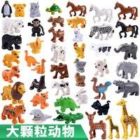 20 sztuk/partia Świnia Zwierząt Lew Zoo Duże Building Blocks Oświecić Zabawki Dla Dzieci DIY Zestaw Cegły Kompatybilny Z Duplo Prezent Dla Dzieci