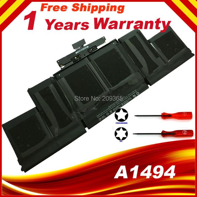 De alto Rendimiento de la Nueva Batería Del Ordenador Portátil para Apple Batería del Macbook Pro Retina A1398 Me293 Me294 Me293 A1494 (Finales de 2013)