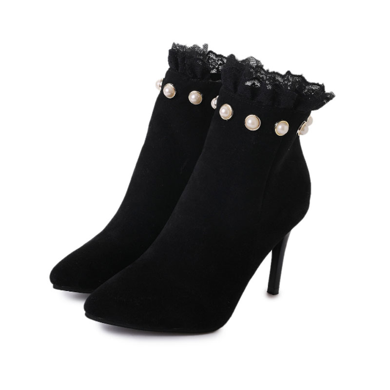 New Arrival 2017 Classic Fashion Splice Lace Floral Black Pointed Toe  Ankle Boots For Women Top Quality Zipper Sexy Thin Heels