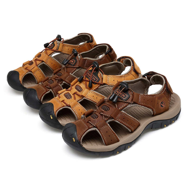 6396118a7064 2018 New Men Hiking Genuine Leather Sandals Closed Toe Outdoor Trail Walk  Fisherman Beach Shoes LBY2018