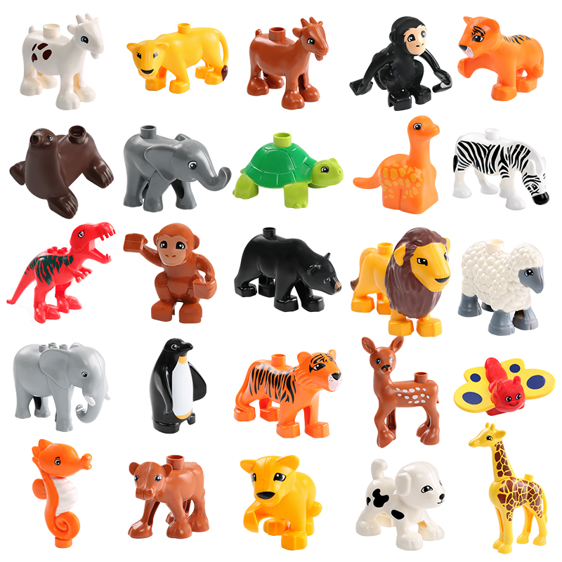 Animal Model Figures Compatible LegoINGlys Duploed Big Size Building Block DIY Cartoon Animal Brick Educational Toy For Children