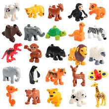 Animal Model Figures Compatible LegoINGlys Duploed Big Size Building Block DIY Cartoon Animal Brick Educational Toy For Children(China)