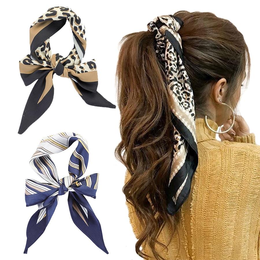 Haimekang Spring Women Scarf Ponytail Hair Rope Flower/Plaid Print Hair Bow Scrunchies Leopard Headbands Bandana Headkerchief