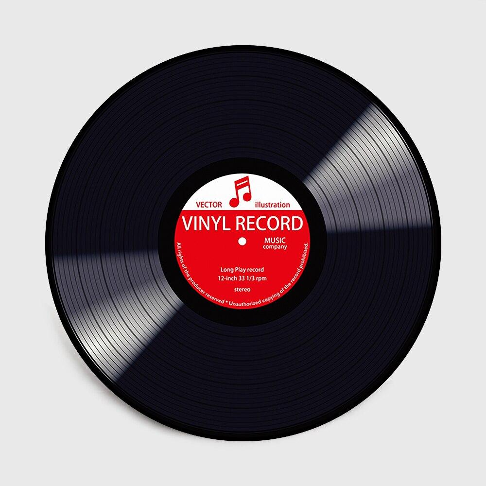 Fashion Modern Black Vinyl Record Red Green Yellow Round