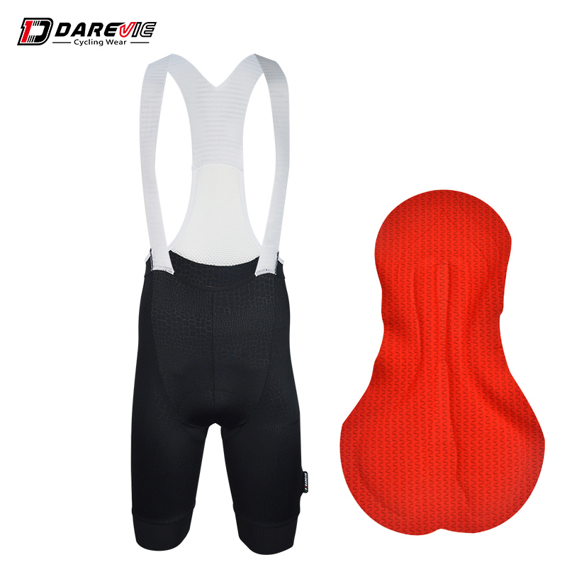 Darevie new Crocodile style fabric 3D gel padded cycling bib shorts team pro black bike bib shorts