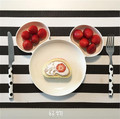 2016 New Melamine Baby Infant Cute Feeding Mouse Plate Fruit Dishes Kids White Black Red Color Child Tableware Set