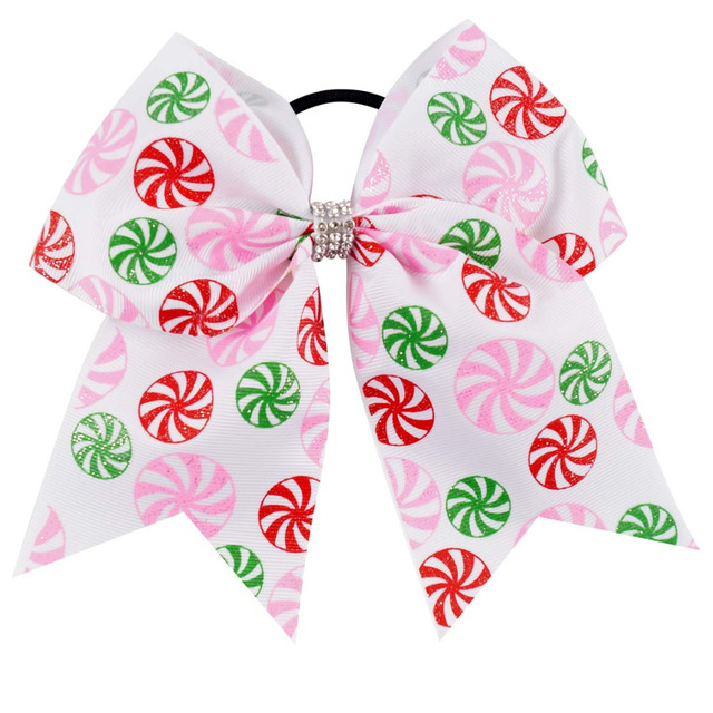 7 INCH Printed Grosgrain Ribbon Cheer Bow With Elastic Hair Band For Girls Dance Cheerleading