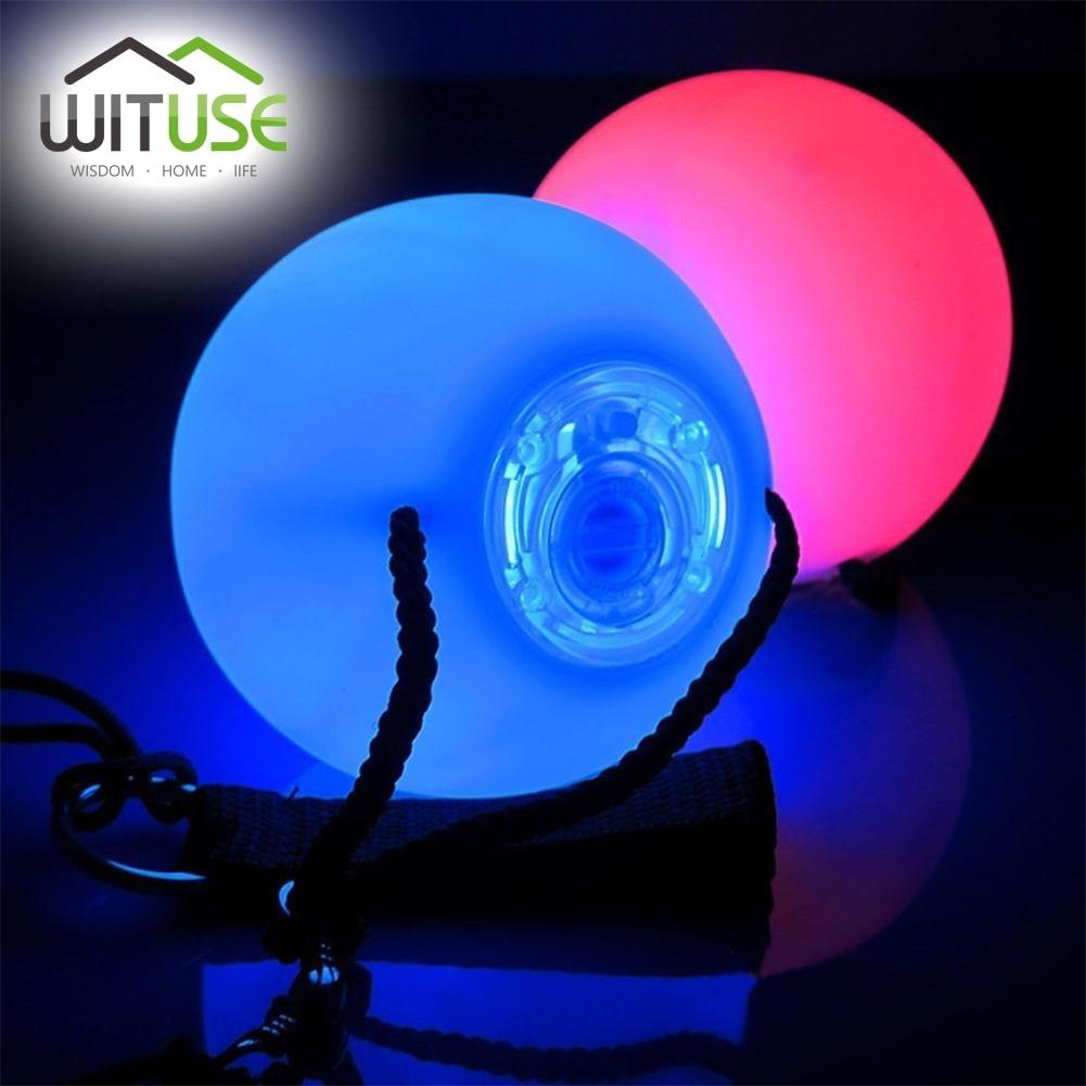 WITUSE Stage Light Party шамдары 1/2 / 4PCS Professional Belly Dance RGB LED Жарықтандыру Disco Түсті өзгерту POI тастанды Шарикті