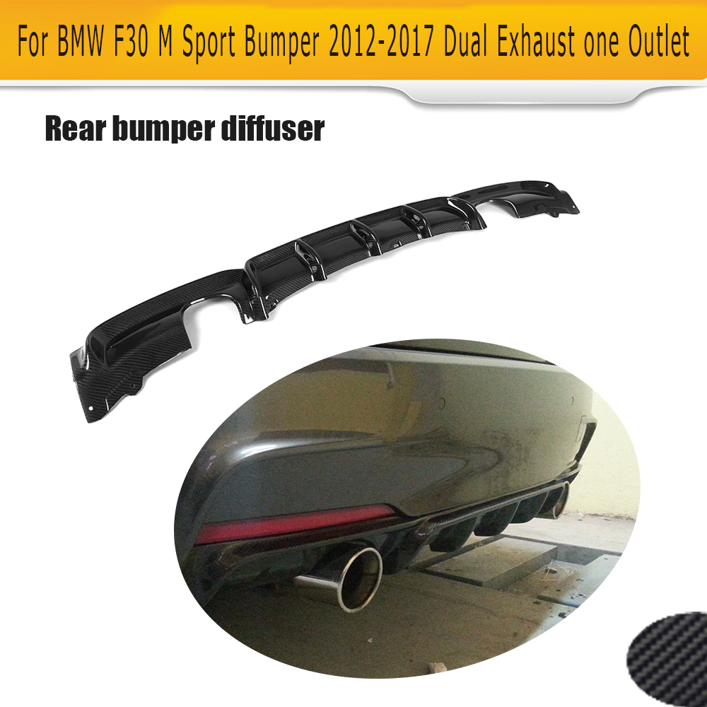 3 Series Carbon Fiber Car Rear Bumper lip spoiler Diffuser for BMW F30 M Sport Bumper 12-17 dual exhaust one outlet Black FRP aedx sot23 6