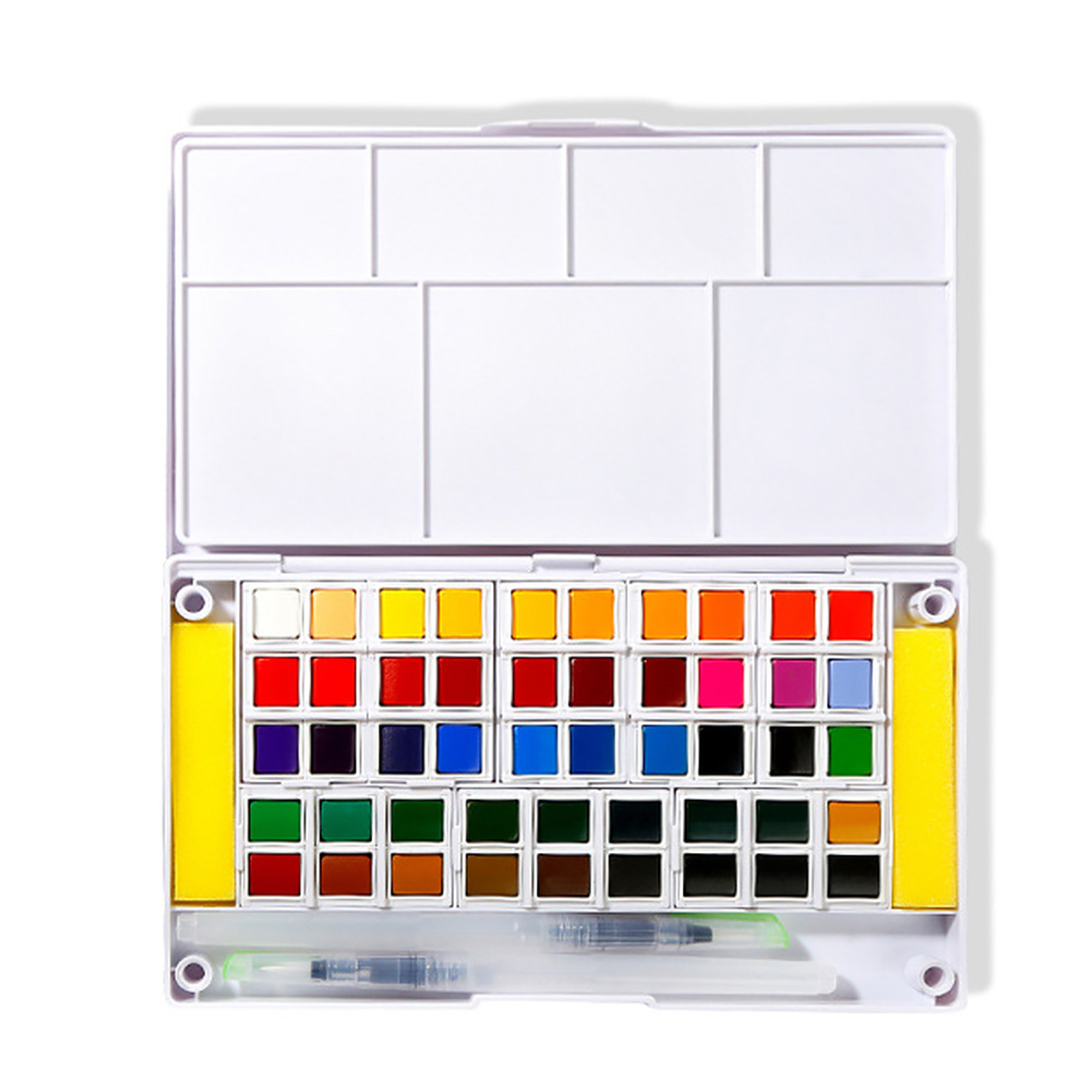 12/24/36/48 Colors Portable Travel Solid Pigment Watercolor Paints Set With Water Color Brush Pen For Painting Art Supplies12/24/36/48 Colors Portable Travel Solid Pigment Watercolor Paints Set With Water Color Brush Pen For Painting Art Supplies