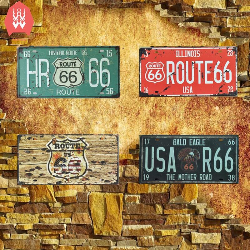 Vintage Retro Metal Decorative License Plate Route 66 Decor Wall Art ...