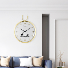 3D Animal Deer Head Antlers Northern European Style Round Wall Clock Modern Design Fashion Gold Color Crystal Living Room Clocks