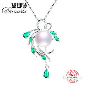 Dainashi leaf shape delicate and unique pearl pendant 925 sterling silver pearl necklaces fine jewelry for girlfriend gifts