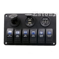 6 Gang LED Rocker Switch Panel Circuit Breakers Charger 12V 24V for Boat Marine G08 Great Value April 4