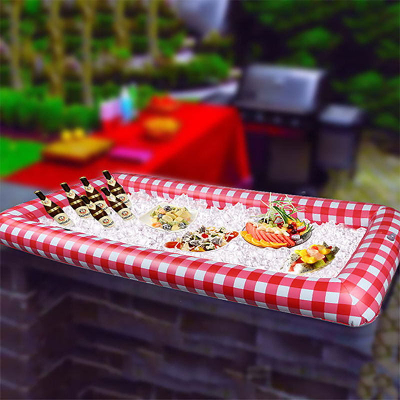 Inflatable Beer Table Pool Float Summer Water Mattress Ice Bucket Portable Red Plaid Inflatable Salad Tray Cooler Floating Row