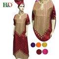 (Frete Grátis) Nova moda vestidos para mulheres colar Africano Bazin riche algodão lenço bordado manga vestido de vestes S2433