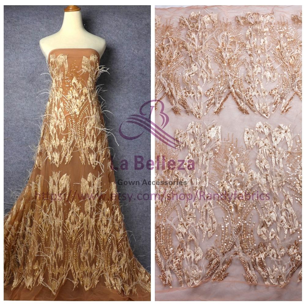 Бежевый фон на коже модный стиль в стиле Парижа выходные шоу ручной работы украшено перьями свадебное/вечернее платье кружевная ткань 60-120 с...