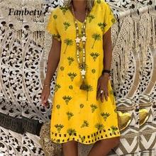 41fed5e508fcf6 Fanbty 5XL Vrouwen Katoen Linnen Jurk 2019 Zomer casual bloemenprint Losse  jurk Mode O-hals