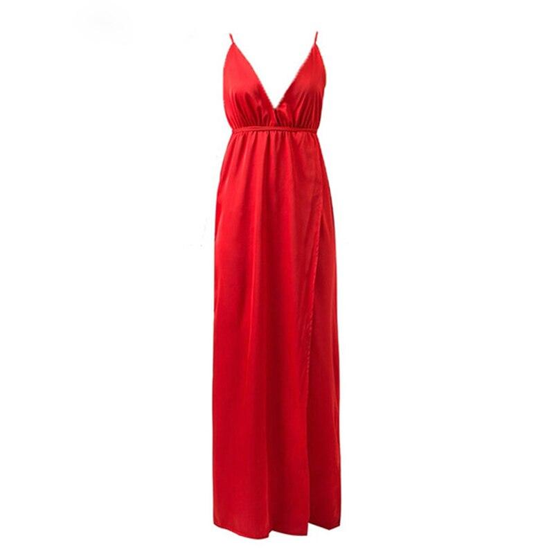 Uanloe Slip Satin Backless Sexy Long Dress Women Pajamas Summer Dress Evening Party Elegant Black Maxi Dresses Vestidos