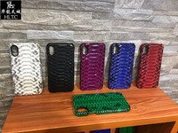 For Couque Iphone 7 7plus Real Leather 3D Python Skin Natural Real Genuine Leather Snake
