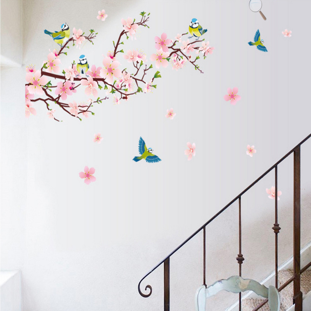 Aliexpresscom Buy Removable Peach Blossom Flowers Wall Stickers