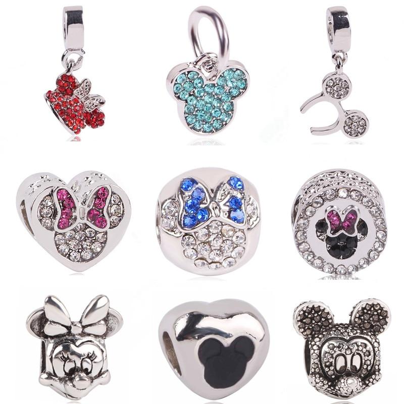 Ranqin Original fashion European Red Minnie Pendant Minnie beads Minnie headbandFit Pandora Charms Bracelets DIY Women Jewerly