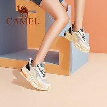 d5cf6e242f930 CAMEL nouvelle mode baskets femmes Tenis Sport Casual chaussures femme en  cuir sauvage plate-forme talon rétro femme loisirs den.