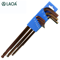 LAOA 9pcs S2 Material Allen Keys Set Ball Shape Hex Wrenches Set Spanner Handle Tools Universal Wrench Repair For Bike Car