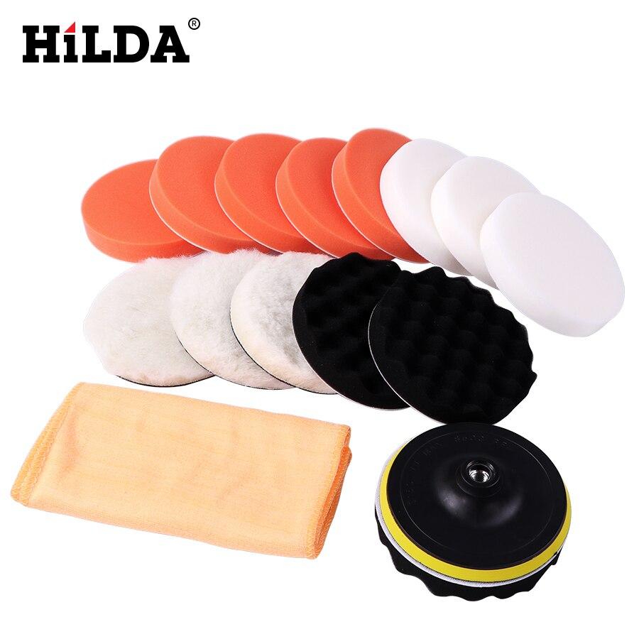 HILDA 18 шт. Автомобильная полировальная Подушка, набор полировки, буфер, полировка, набор для полировки, автомобильная полировальная губка, набор для полировки колес|Аксессуары для электроинструментов|   | АлиЭкспресс