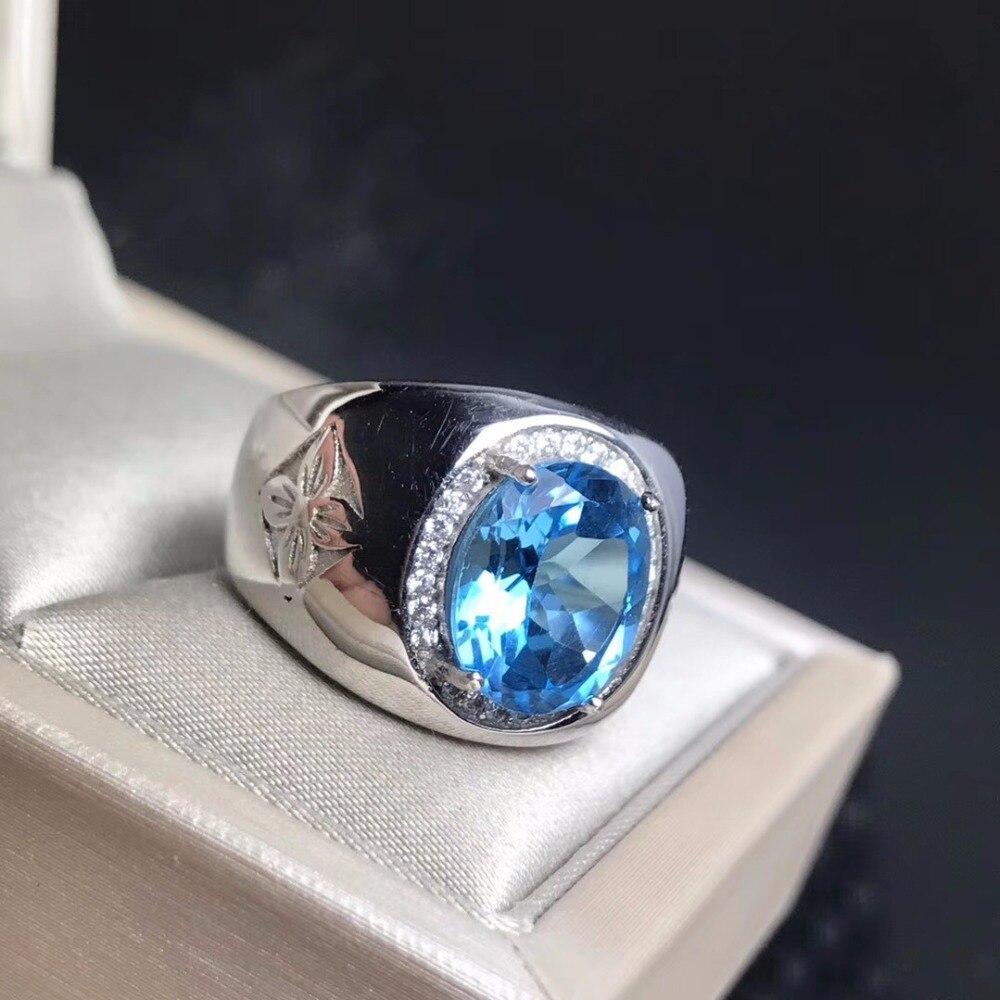 Royal Blue Topaz męska pierścień ze srebra próby 925 dostosowane pierścień rozmiar nowe zalecane prosty pierścień w Pierścionki od Biżuteria i akcesoria na  Grupa 2