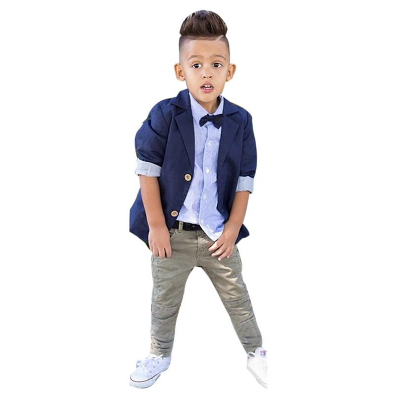 1Set Kids Toddler Boys Handsome Denim T-shirt+Trousers Pants Clothes Outfits