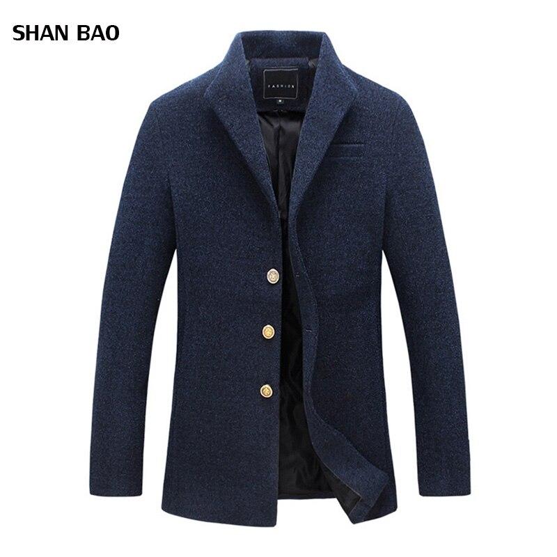 Wollmantel Männer Winter New Fashion Marke Mens Mantel Kleidung Trend Einreiher Peacoat Männer Hohe Qualität Casaco Masculino