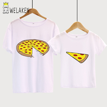 Фотография weLaken Family Matching Clothing Father And Children Clothes Interesting Pizza Print Family Look Clothing Cotton T-shirt Outfits