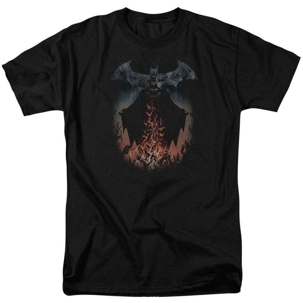Бэтмен мужские дым и пожарной футболка черный rockabilia