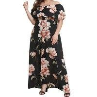 Plus XL 4XL Women's Off Shoulder Summer Casual Long Ruffle Floral Print Chiffon Dress Boho Style Beach Maxi Dress with Pockets