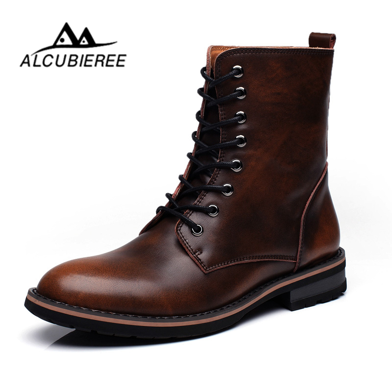 ALCUBIEREE Leather Ankle Boots Super Warm Snow Boots Winter Shoes With Fur Men British Style Lace-Up Outdoor Leisure Boots Men xiaguocai new arrival real leather casual shoes men boots with fur warm men winter shoes fashion lace up flats ankle boots h599