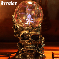 2018 Promotion Sale Novelty Skull Design Plasma Sphere Glass Halloween Decoration Night Lights Magic Ball Static Touch Gifts