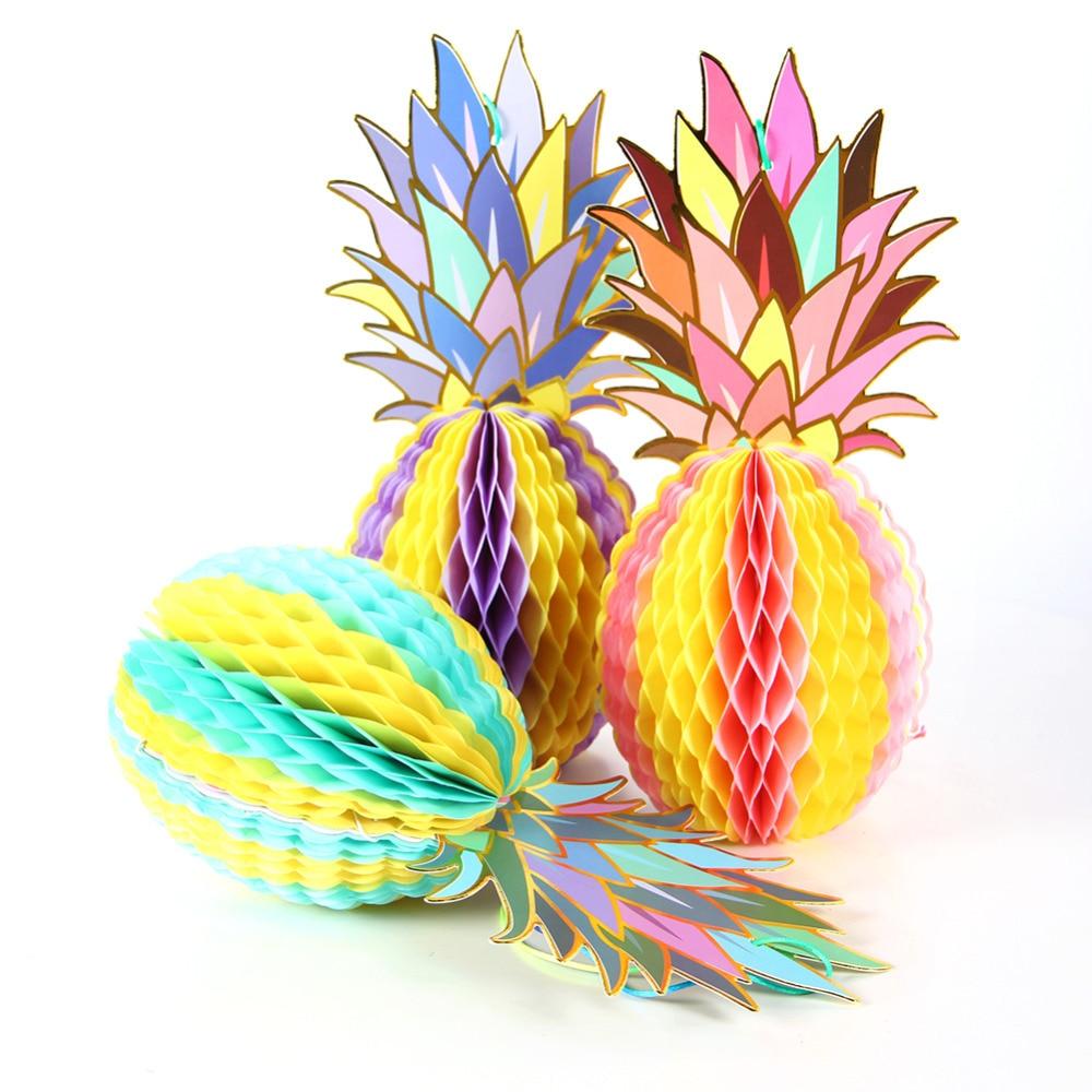 3 stks Folie Goud Papier Opknoping Honingraat Ananas Decor Zomer - Feestversiering en feestartikelen