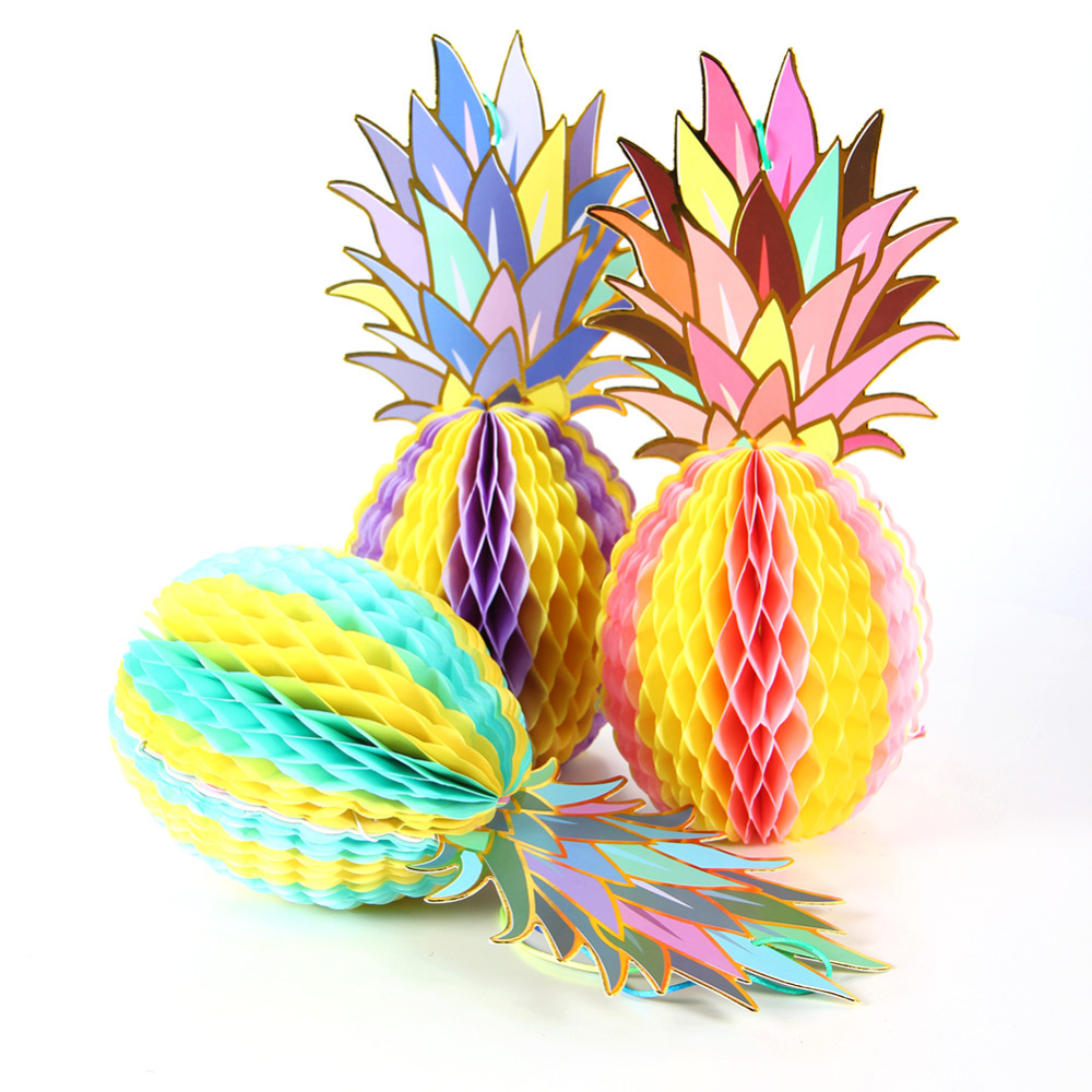 3pcs Foil Gold Paper Hanging Honeycomb Pineapple Decor Summer Party Table Centerpiece Beach Pool Luau Tropical Birthday Wedding