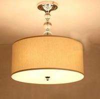 20 Beige Crystals string Bedroom Pendant Light Elegant Living Room Pendant Lamps Fabric Dining Room Pendant Lamp