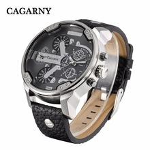 Cagarny Mens Watches Top Brand Luxury Black Leather Quartz W
