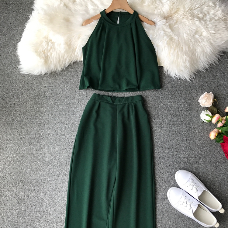 HTB15ZsxVzTpK1RjSZKPq6y3UpXa6 - two piece set women fashion sexy short top and long pants casual sleeveless Elastic high waist female summer festival clothing
