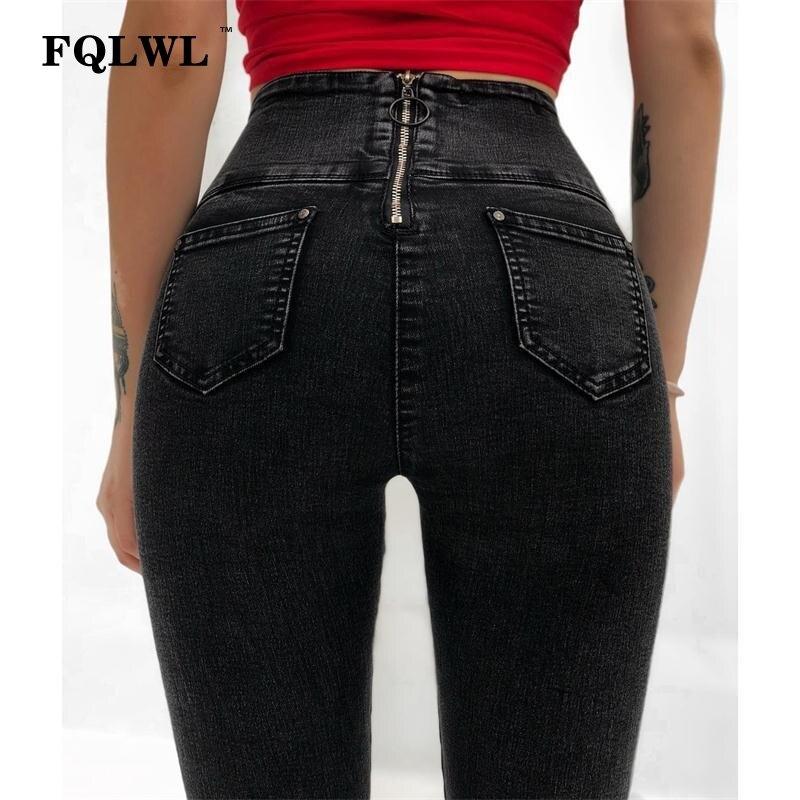 FQLWL Back Zipper Skinny   Jeans   Woman Push Up High Waist Black Slim Pencil   Jeans   Female Vintage Denim Stretch   Jeans   Pants Womens